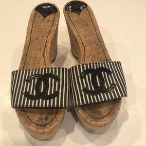 Chanel denim stripped slip on wedge size 9